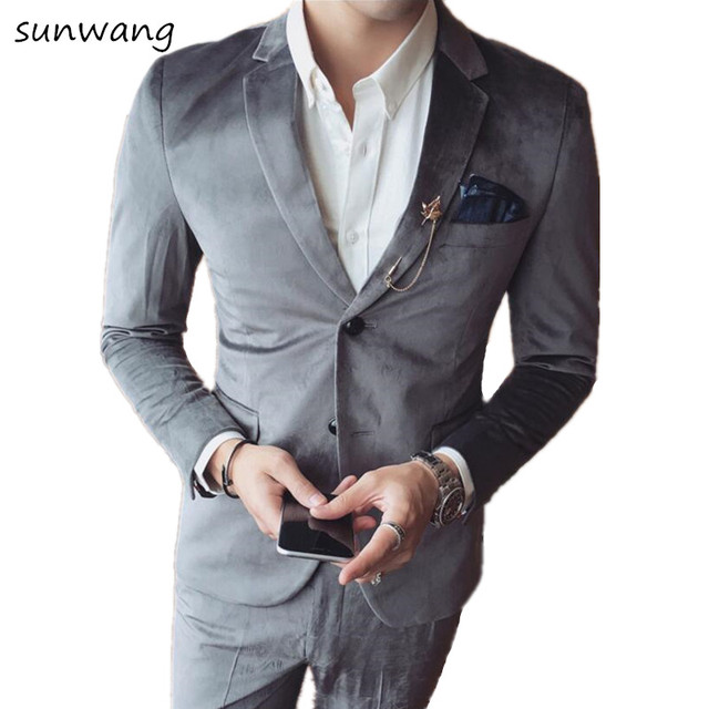 2017 Custom Made Mens Velvet Suits Fashion Formal Dress Men Suit Set Men  Wedding Suits Groom