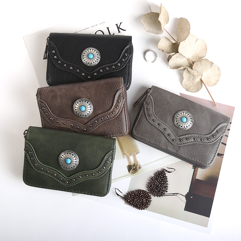Short Vintage Rivet Women Wallets Small Leather Wallet 2018 Cool Lady Purse Flower Card Holder Mini Purse Brand Wallet 500840 new fashion small lady wallets coin purse lady with card holder vintage women wallet short mini purse best gift for friend500835