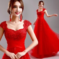 Red Evening Dress 2015 New Arrival Bride Married Wedding Party Dress Plus Size Lace Beading Sexy