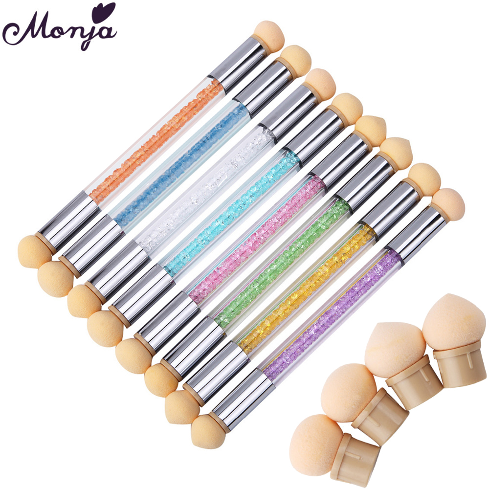 Monja Double End Nail Art Gel Polish Color Gradient Brush + 6 Sponge Head Transfer Stamping Blooming Dotting Pen Manicure Tool ...