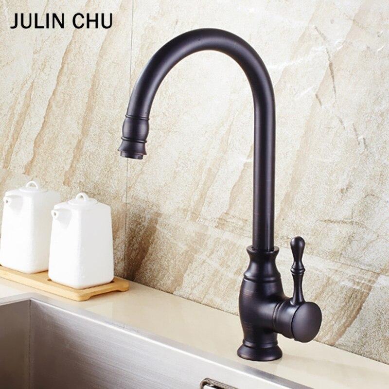 Robinet d'évier de cuisine noir double poignée robinets de cuisine frottés à l'huile en laiton Antique robinet d'eau de bassin robinet de mélangeur d'eau chaude et froide