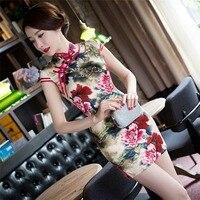 New Arrival Summer Chinese Women Silk Qipao Stylish Style Mini Cheongsam Novelty Summer Lady Dress Size