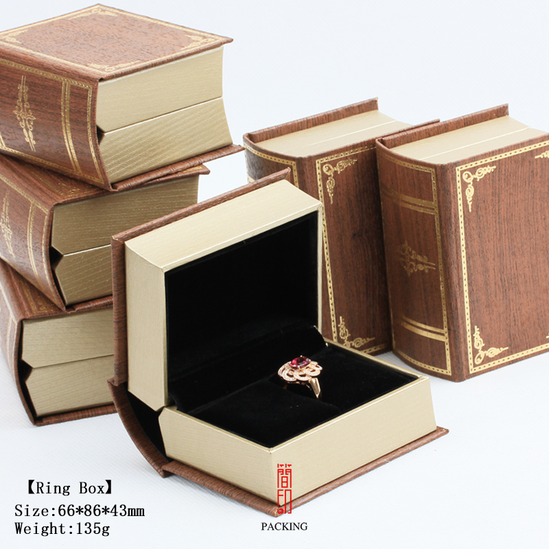 Personalized Ideas For Wedding Mini Book Shape Double Ring Box / Necklace Case /Gift Case 8.6*6.6*4.3