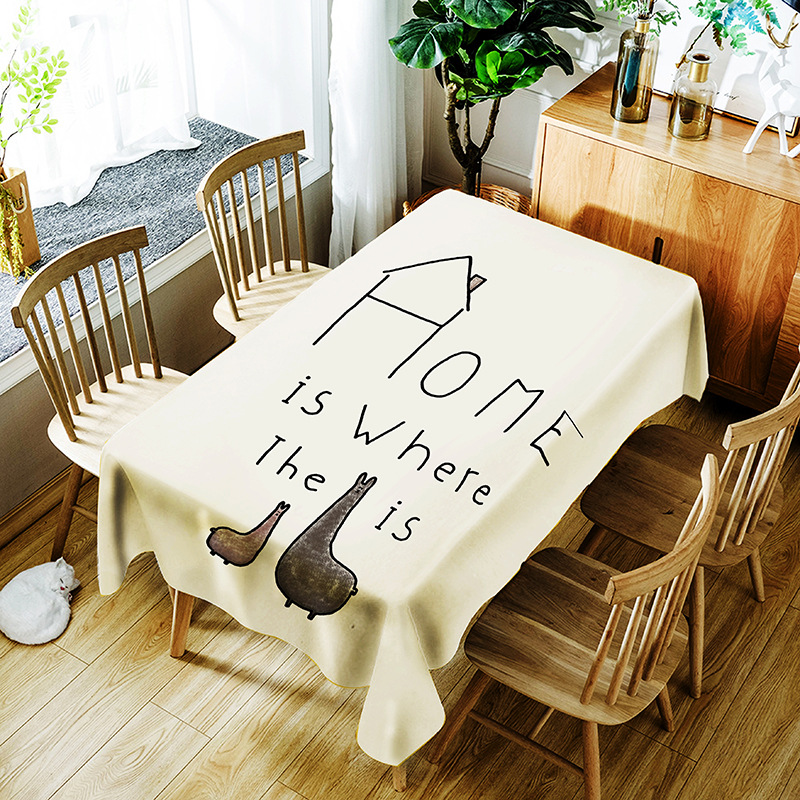 Table Cloth digital printing polyester rectangular waterproof dining table kitchen home  ...