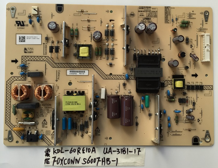 KDL-60R510A power supply UA-3181-1F REV:B P/N:813708 is used 2 e4a ssl4055 rev 1 0 constant board kdl 46 hx720 ex720 kdl 55 used disassemble