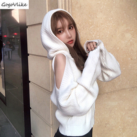Open Shoulder White Crochet Knitted Cardigan Women Long Sleeve Winter Coat Hooded Ladies Sweater Jumpers Short Korean SA157S50