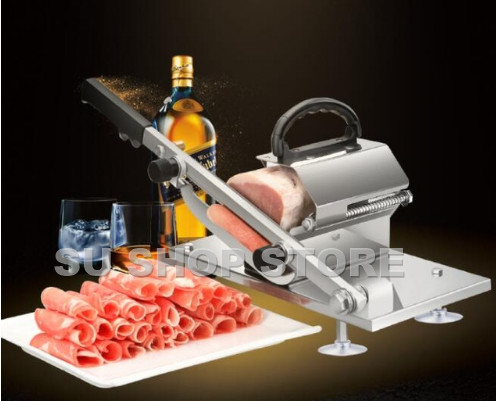 Automatic Feed Meat Lamb Slicer Home Manual Meat Machine Commercial Fat Cattle Mutton Roll Frozen Meat Grinder Planing Machine R