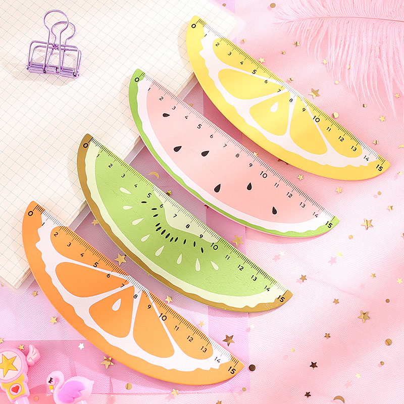 15cm Creative Watermelon Fruit Ruler Kawaii Sector Straight Rulers For Kids Girls Gift School Office Supplies Measure Stationery
