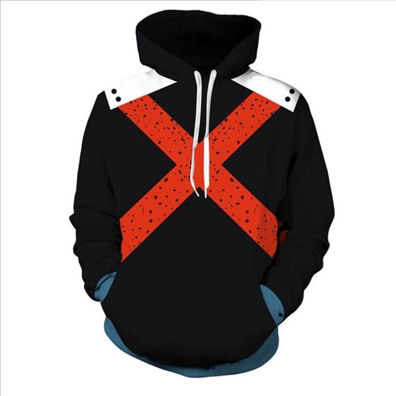 Anime My Hero Academia Cos Todoroki Shoto Cosplay Costume 3D Comic Coat Hoodie Sweatshirt Christmas Halloween Costume For Men