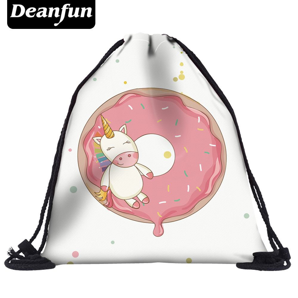 Deanfun Unicorn Drawstring Bags 3D Printed Donuts Pattern Women Schoolbags For Travel Kawaii 50452