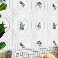 3D succulent pattern soft package wallpaper study restaurant living room bedroom waterproof anti collision foam wall stickers