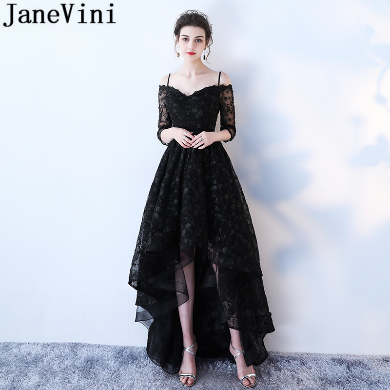 JaneVini High Low Black Lace Long   Bridesmaid     Dresses   A Line Spaghetti Straps Backless Elegant Prom Gowns Robe Longue Dentelle