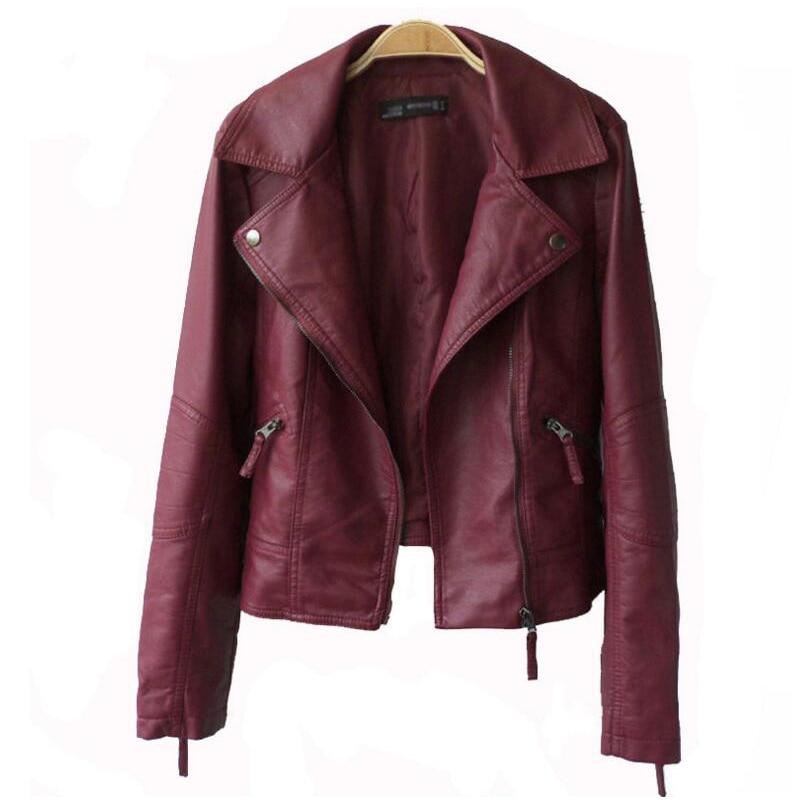 Autumn Women Leather Jacket Black Wine Red Turn-down Collar Female Outwear Faux Coat Soft Slim Ladies Coat