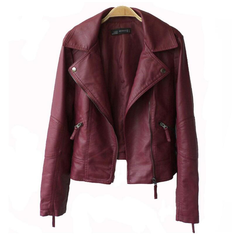 Autumn Women   Leather   Jacket Black Wine Red Turn-down Collar Female Outwear Faux Coat Soft Slim Ladies Coat