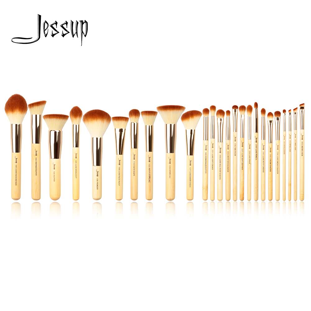 Jessup Brand 25pcs Beauty Bamboo Professional Makeup Brushes Set Make up Brush Tools kit Foundation Powder Blushes Eye Shader southeast asian chinese antique tea bamboo rattan lamp chandelier lamp box farmhouse inn lights ya7265