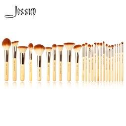 Jessup Brand 25pcs Beauty Bamboo Professional Makeup Brushes Set Make up Brush Tools kit Foundation Powder Blushes Eye Shader