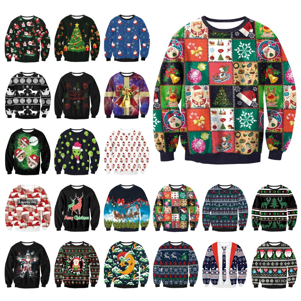 Ugly Christmas Sweatshirts Men Santa Claus Deer Elf Printed Funny Unisex Loose Hoodies Sweatshirts Tops Autumn Clothing