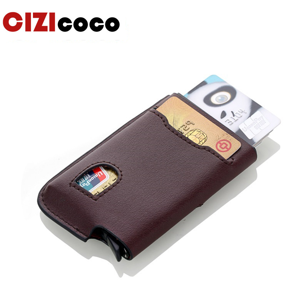 Genuine Leather Aluminium Antitheft RFID Card Holder Blocking Mini Wallet Simple Fashion Men Women Credit Card Holder