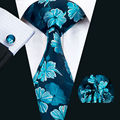 LS-1427 Barry.Wang Fashion Men`s Tie Blue Floral 100% Silk Necktie Hanky Cufflink Set For Men`s Wedding Party Groom Business