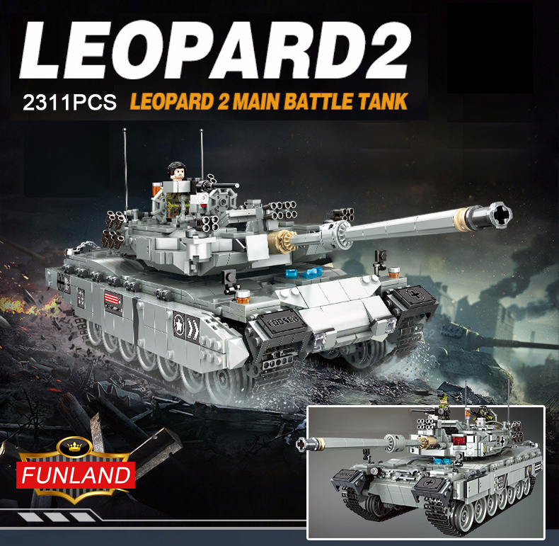 Modern military ww2 Germany Leopard 2 Main battle tank 2in1 building bricks model world war army figures block toys collection oenux newest 6pcs ww2 the battle of imphal military scenes model uk british army figures building block brick educational toys