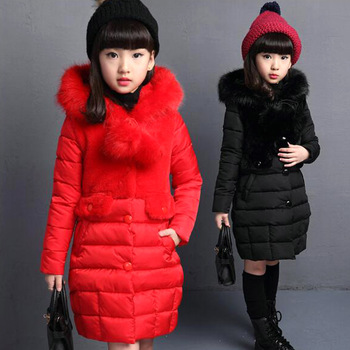 2020 Winter Girls Coats Children's Warm Cotton Clothes Padded Coats For Girls' Children Wear Thicken Jacket Wool ball splicing фото