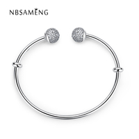 925 Sterling Silver Original Moments Open Silver Bangle With Clear CZ Pave Caps Fit Pan Basic