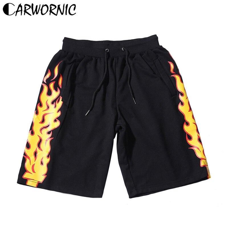 CARWORNIC Men's Hip Hop   Shorts   Streetwear Fire Flame Print Waist Sweat   Short   Casual Spring Summer Elastic Fashion   Short   Joggers
