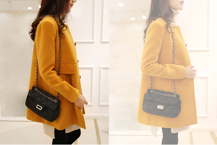 New 19 Spring Autumn Plus Size Wool Coat Women Loose A-aline Long Sleeved O-neck Medium Long Black Yellow Korean Coat Casacos 9