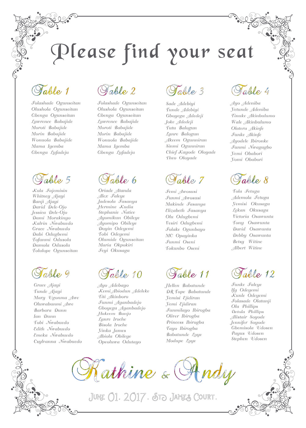 image regarding Printable Wedding Seating Chart identified as US $15.0 The special printable wedding ceremony seating software electronic document presented basically can be birthday or christams get together special desk-in just Get together Do-it-yourself