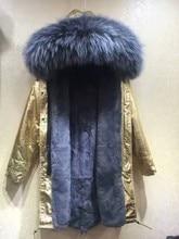 ARLENE SAIN  Slim Long winter Jacket Fur Collar Parka golden long coat with mrs fur lined Winter Coat