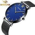 BINSSAW 2016 nuevos hombres ultra-delgado reloj de cuarzo de la marca de lujo de acero inoxidable delicado contrajo reloj de hombre de negocios de zafiro