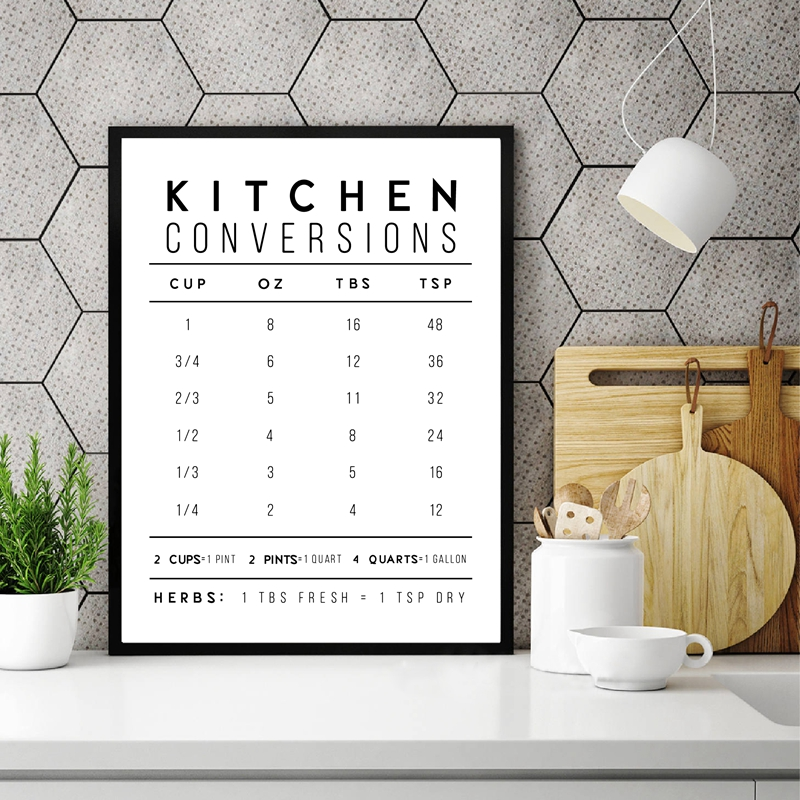 Kitchen Conversions Modern Farmhouse Poster And Print , Kitchen Quote Minimalist Canvas Painting Picture Home Wall Art Decor image