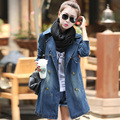2017 New Fashion Retro Women Denim Trench Coat Outwear Spring Casual Blue Medium long Trench Coat Windbreaker Top Plus Size