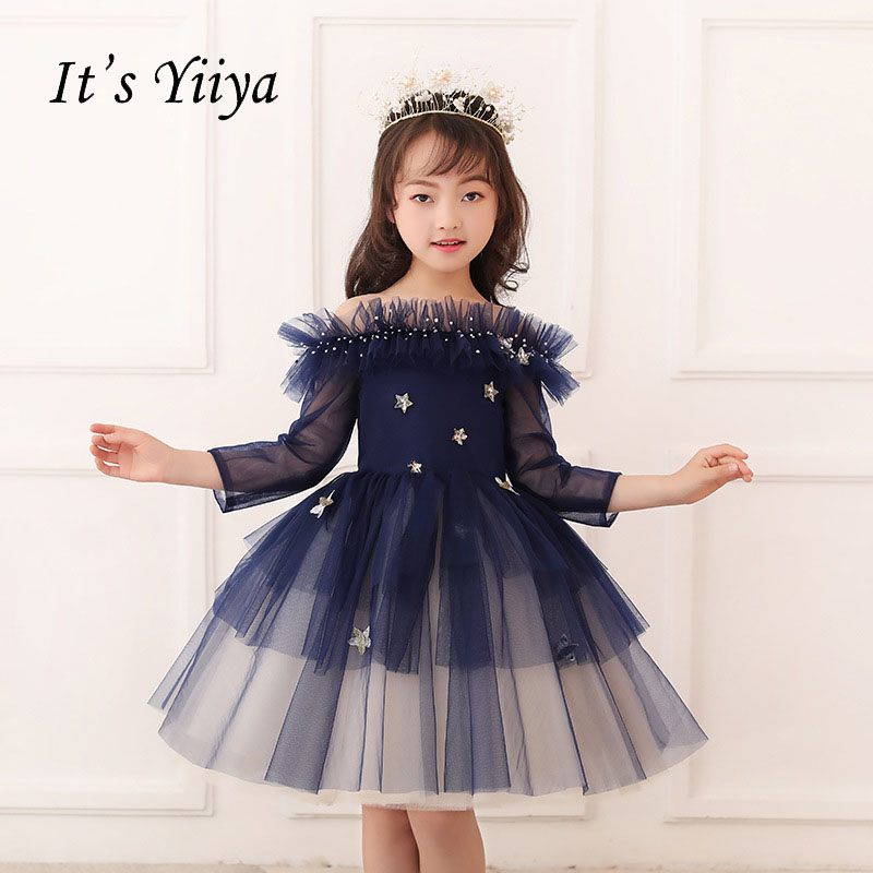 It's yiiya Zipper Star Ruffle Tiered Off Collar Tulle Kid   Flower   Child Cloth   Flower     Girl     Dress   For Party Wedding   Girl     Dress   S177