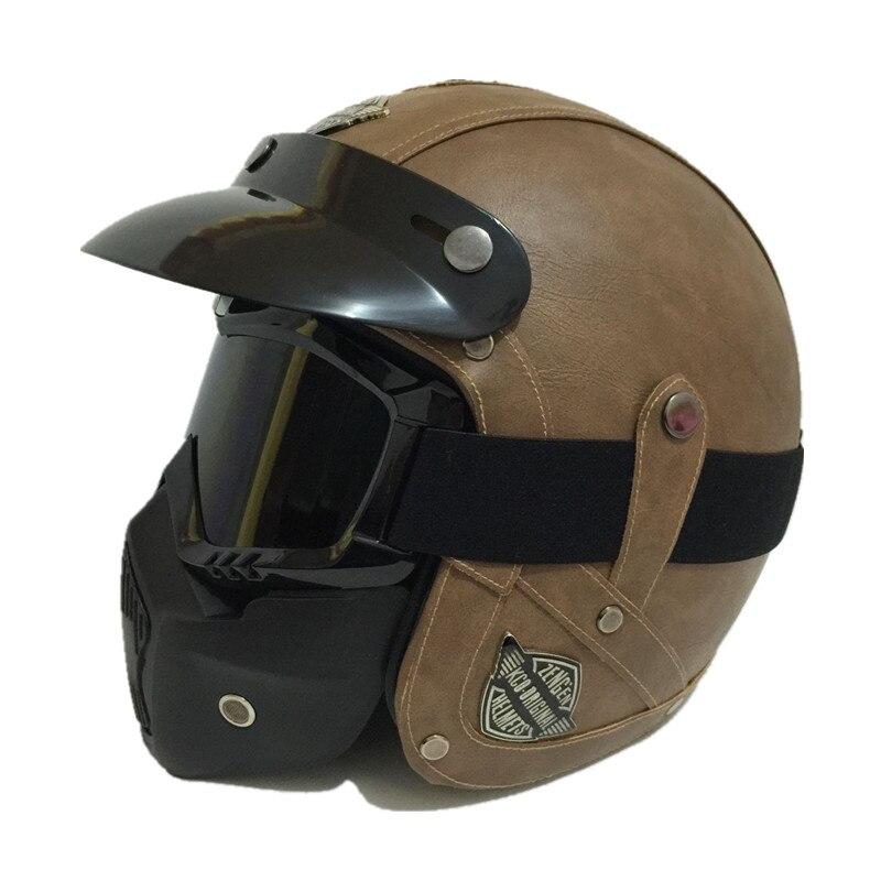 Vintage leather motorcycle helmet Retro Scooter helmet Men women s 3 4 Moto casco Goggles Mask