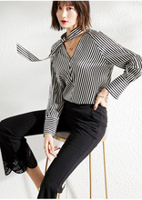 PIXY Stain Heavy Silk Blouses Women Long Sleeve Shirts V Neck Office Ladies Black and White Striped Pullover Tops aztec