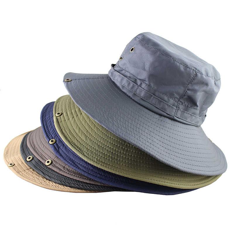 bfc1b8552 UPF50+ Sun Hat Women Men Mesh Bucket Hat Summer Fishing Hiking Cap Wide  Brim UV Protection Flap Hat Breathable Beach hat Outdoor