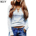Women Fashion Black Stripe V Neck Lace-up Long Sleeve Cotton T-shirt Girls Casual Tops Undershirt Lady Spring Autumn New Aug25