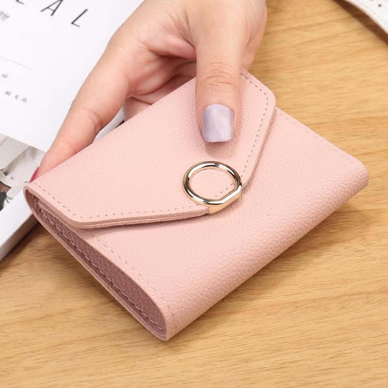 Short Wallet Female Card Holder Women Clutch Purse Bag Bifold Hasp Slim Small Wallet Pu Leather Women Wallets carteira feminina Кошелёк