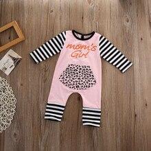 Pink Newborn Infant Baby Girl Romper Long Sleeve Letter Print Leopard Pocket Striped Patchwork Jumpsuit Playsuit