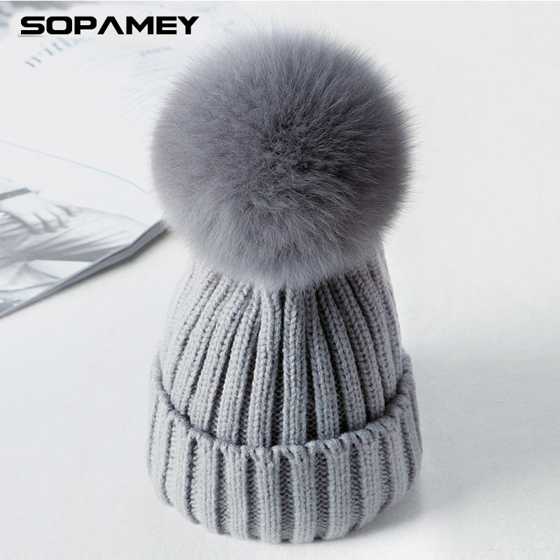 Brand Beanies Knitted Cap Women Spring Winter Hats Crochet Hat Rabbit Fur Pompons Ear Protect Casual Cap Chapeu Feminino 2017 winter women beanies pompons hats warm baggy casual crochet cap knitted hat with patch wool hat capcasquette gorros de lana