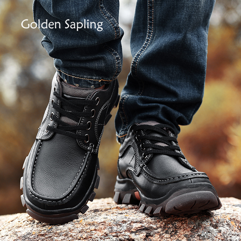 Golden Sapling Genuine Leather Mens Hiking Shoes Breathable Sneakers Men Rubber Tactical Shoes Top Men's Trekking Outdoor Boots цена