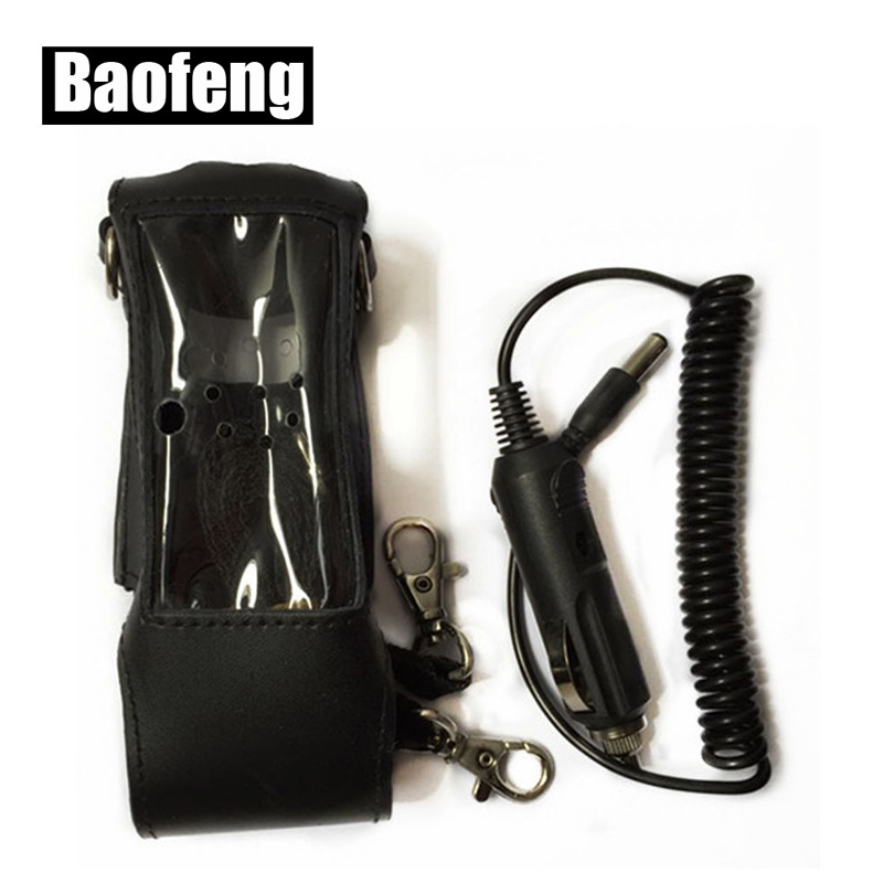 Extended Leather Soft Case For Baofeng UV-5R(3800 Mah) TYT TH-UVF9 TH-F8 TH-UVF9D Walkie Talkie With Car Charger Cable