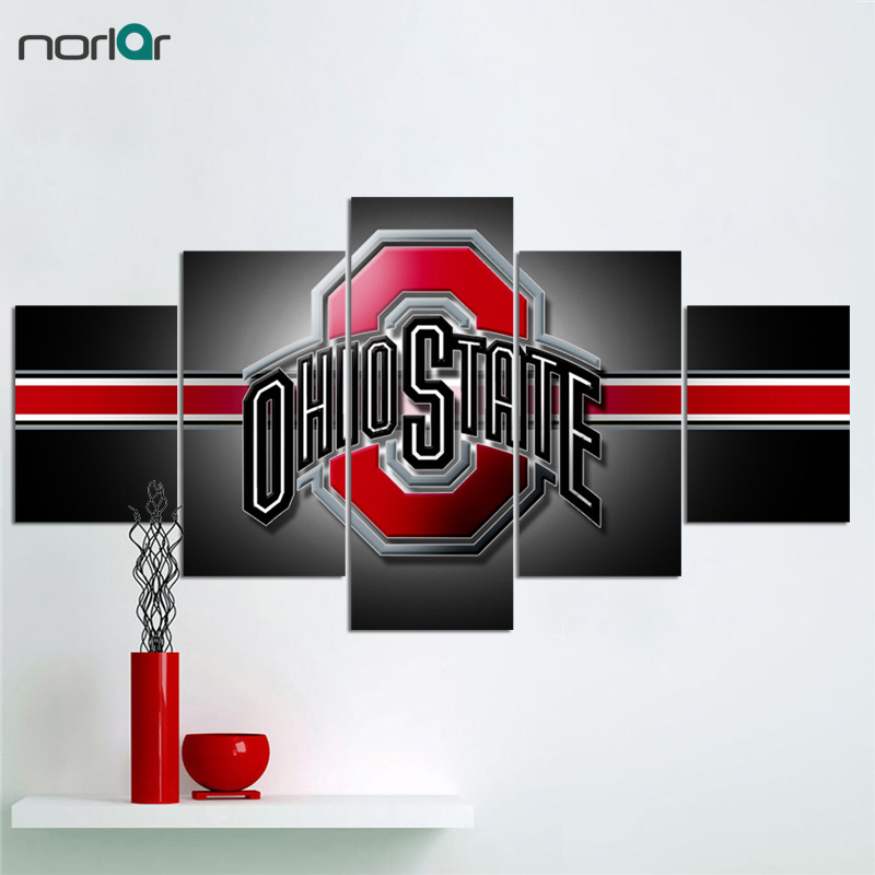 Us 20 21 14 Off 5 Pcs Hd Print Canvas Painting Ohio State Buckeyes Logo Modern Home Wall Decor Art Picture For In