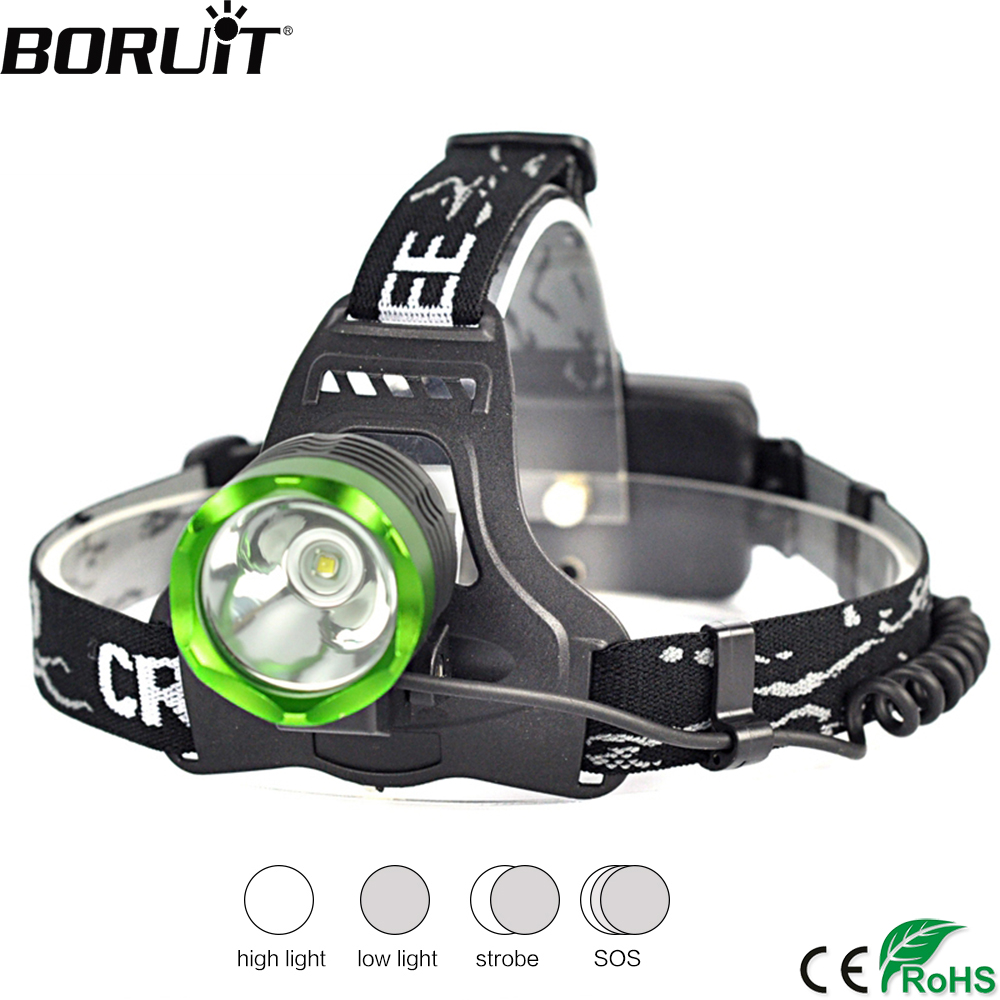 BORUiT K11 XML T6 LED Headlamp 4-Mode Bright Headlight Rechargeable Head Torch Camping Frontal Lantern Hunting Flashlight r3 2led super bright mini headlamp headlight flashlight torch lamp 4 models