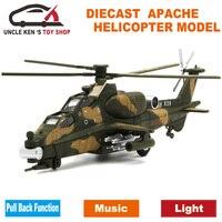 Diecast Askeri Apache Helikopter Metal Model Uçak, uçak, Avion, çocuk boys toys ile geri çekin fonksiyonu/müzik/ışık
