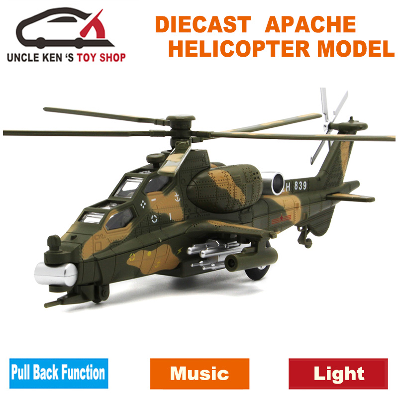 Diecast Militar Apache Helicopter Metal Model Aircraft, avion, Avion, Copii Boys Jucarii cu tragere inapoi Functie / Muzica / Lumina