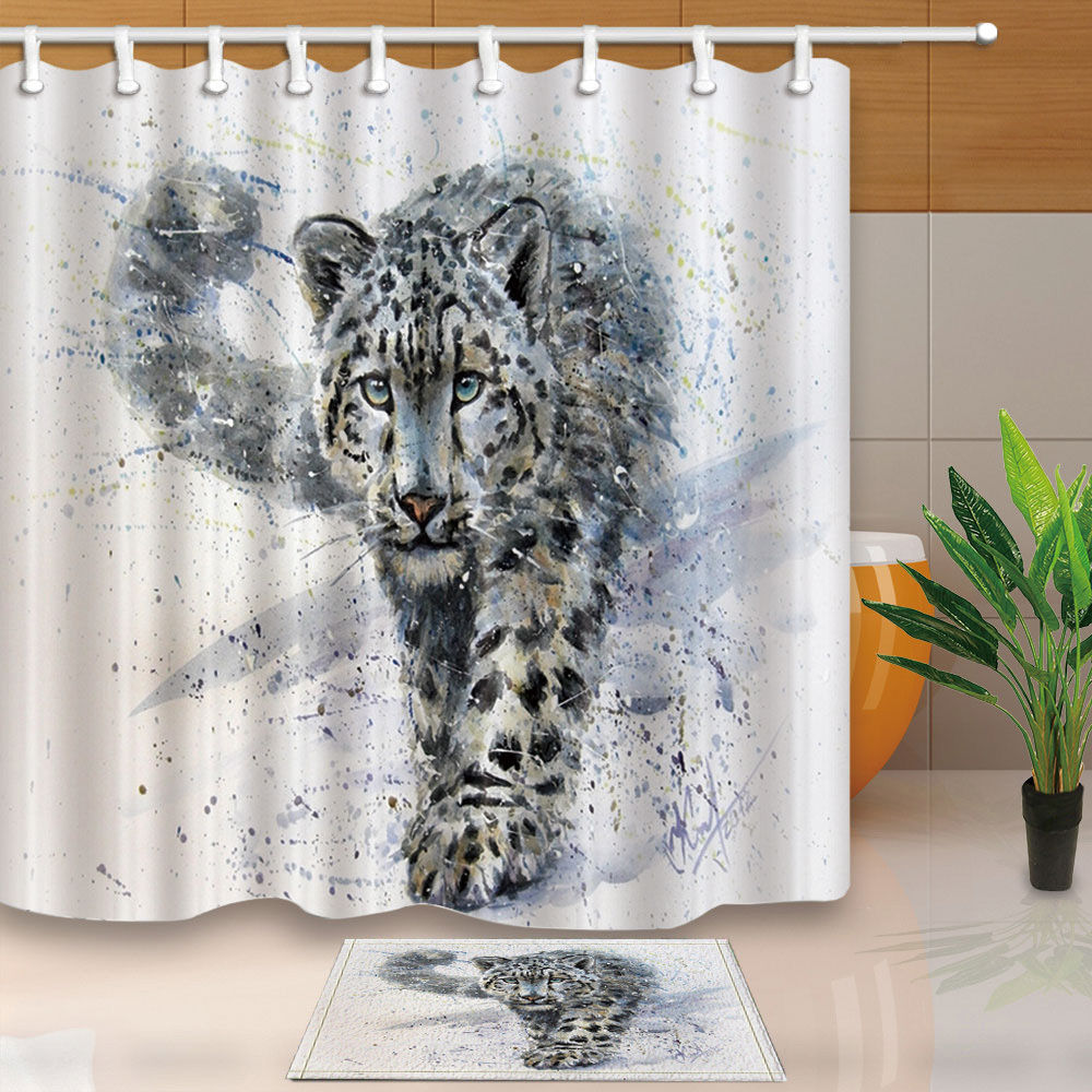 Leopard shower curtain - Oil Painting Snow Leopard Bathroom Shower Curtain Sets Waterproof Fabric With 12 Hooks Wts020 China
