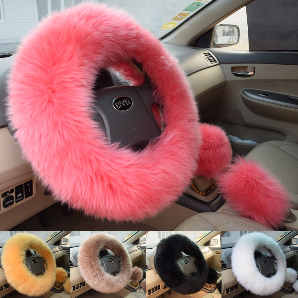 Winter Warm Wool Handbrake Cover Gear Shift Cover Steering Wheel Cover 38cm diameter 1 Set 3 Pcs Light Brown