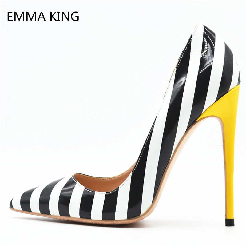 2019 New Brand Stiletto High Heels 12cm Zebra Striped Pumps Women Shoes Pointy Shallow Patent Leather Party Dress Shoes Ladies2019 New Brand Stiletto High Heels 12cm Zebra Striped Pumps Women Shoes Pointy Shallow Patent Leather Party Dress Shoes Ladies